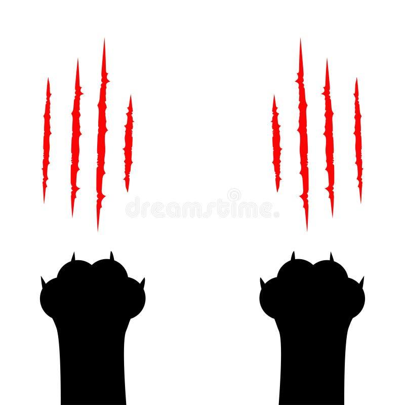 Schwarze Katze, die Pfotenabdruckbeinfuß verkratzt Kratzer-Kratzenbahn der blutigen Greifer tierische rote Nettes Zeichentrickfil vektor abbildung