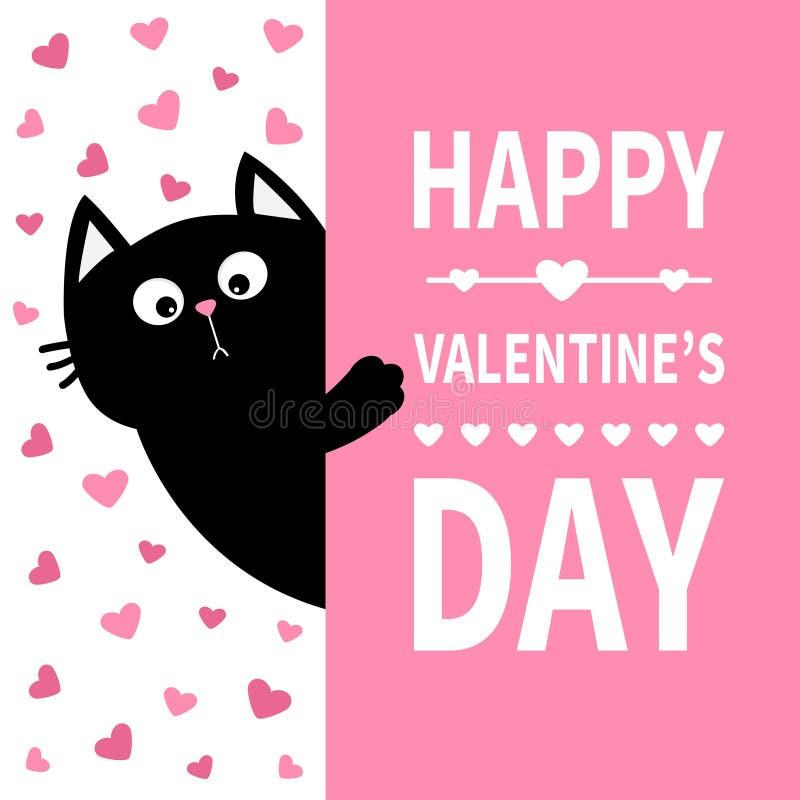 Schwarze Katze, die Schild hält Lustige Kätzchenmiezekatze der netten Karikatur, die hinter Papier sich versteckt Glücklicher Val lizenzfreie abbildung