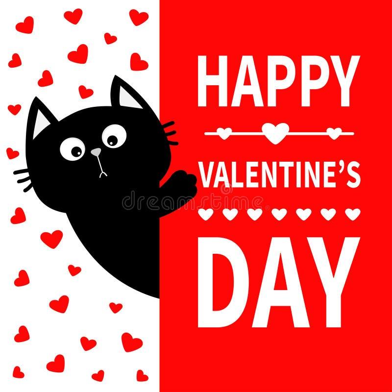Schwarze Katze, die Schild hält Lustige Kätzchenmiezekatze der netten Karikatur, die hinter Papier sich versteckt Glücklicher Val stock abbildung