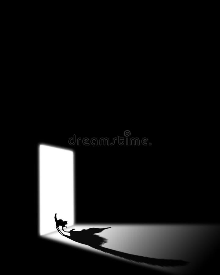 Schwarze Katze in einem dunklen Raum vektor abbildung