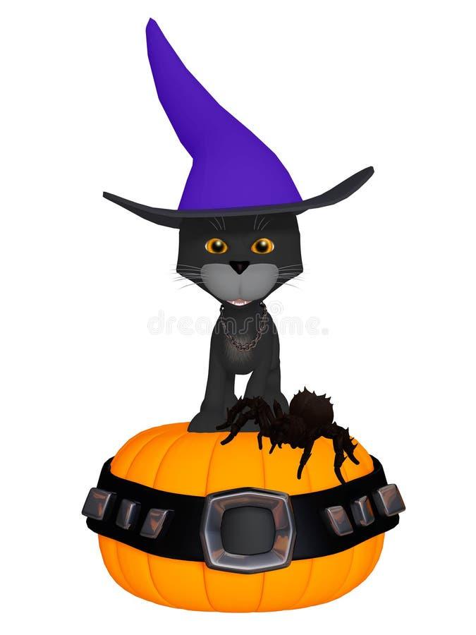Schwarze Katze Halloween-Hexen vektor abbildung