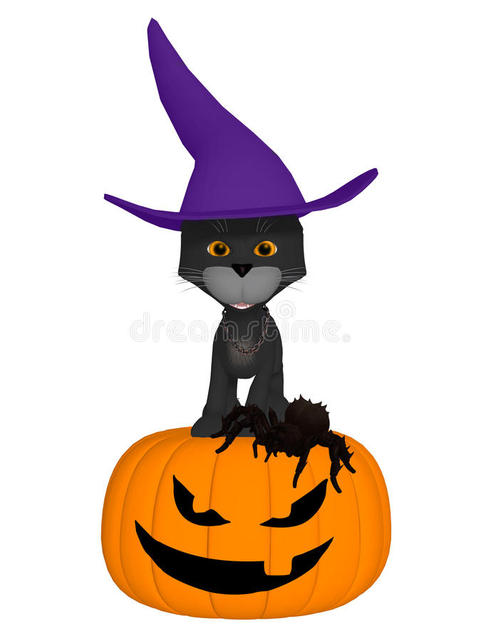 Schwarze Katze Halloween-Hexen stock abbildung