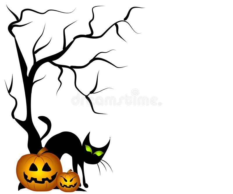 Schwarze Katze-Halloween-Kürbise lizenzfreie abbildung