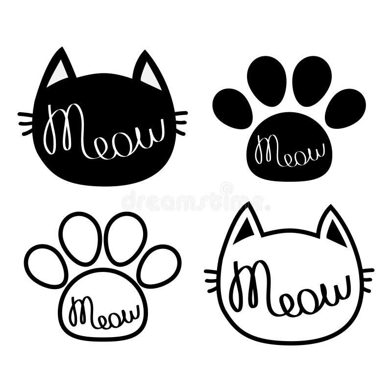 Schwarze Katze-Kopf Miauenbeschriftungs-Konturntext Paw Print Netter Zeichentrickfilm-Figur-Schattenbild-Ikonensatz Kawaii-Tier B lizenzfreie abbildung