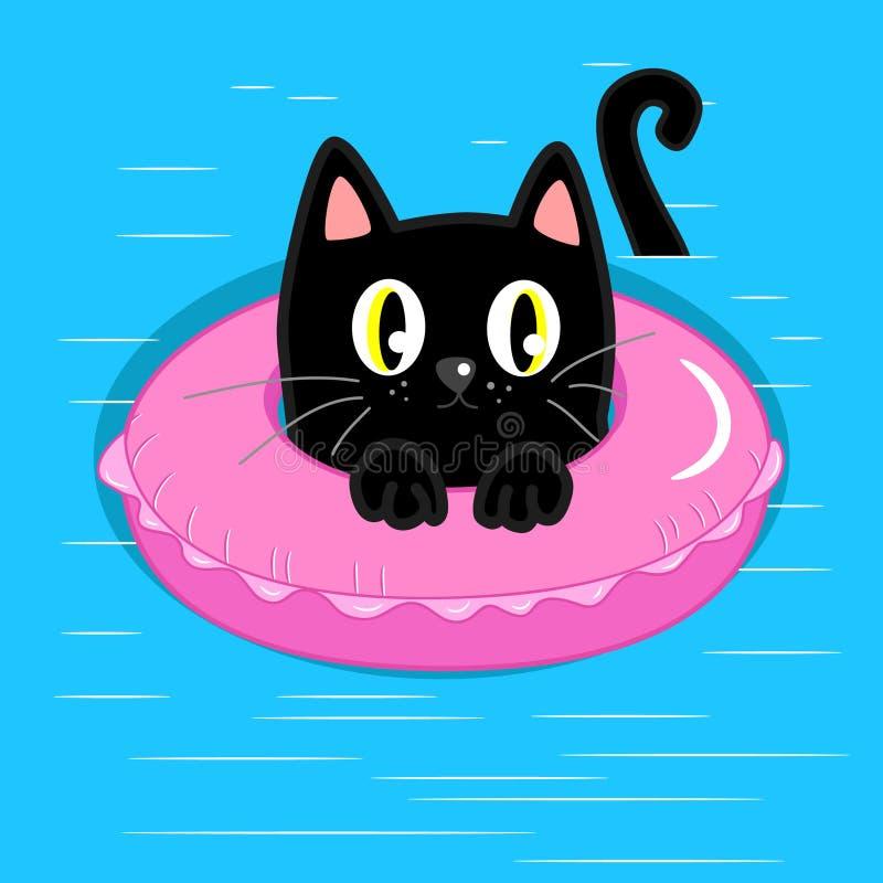 Schwarze Katze mit aufblasbarem Schwimmring vektor abbildung
