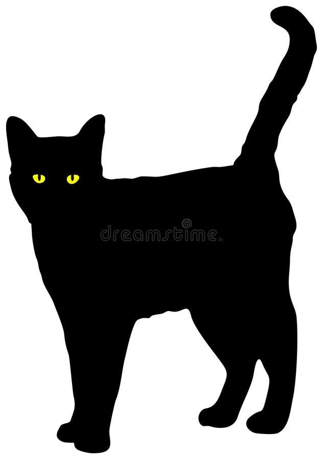 Schwarze Katze mit den gelben Augen, die den Kameravektor betrachten lizenzfreies stockfoto