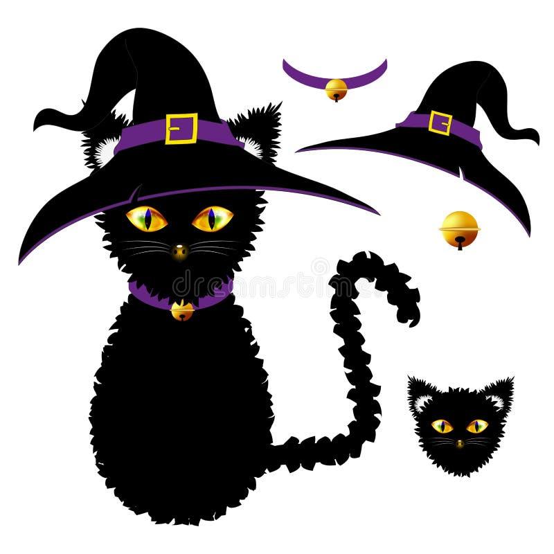 Schwarze Katze mit gelben Augen Hexen-Hut, purpurroter Kragen und goldener Ball Bell Halloween-Tag Auch im corel abgehobenen Betr lizenzfreie abbildung