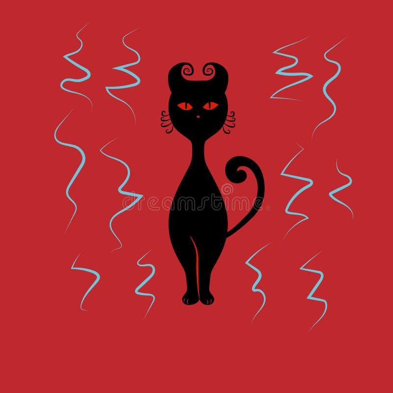Schwarze Katze mit roten Augen stockbild