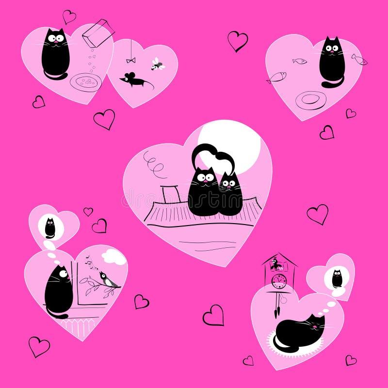 Schwarze Katzen der Liebe im Rosa lizenzfreie abbildung