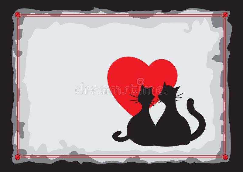 Schwarze Katzen der Liebhaber Schattenbild lizenzfreie abbildung