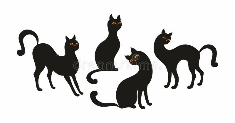 Schwarze Katzen eingestellt stock abbildung
