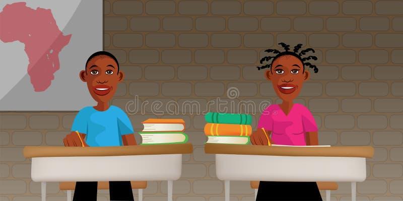 Schwarze Kinder in der Schule lizenzfreie abbildung