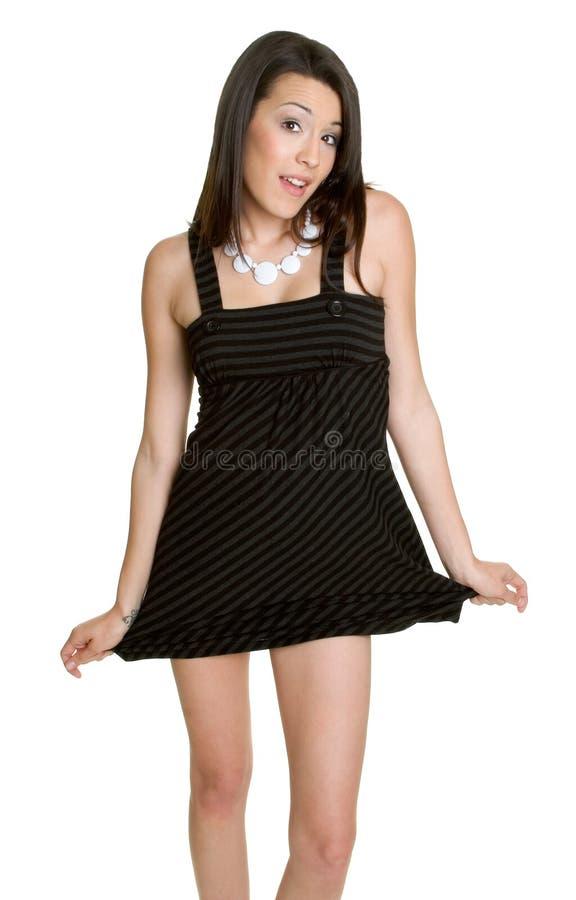 Schwarze Kleid-Frau stockfotos