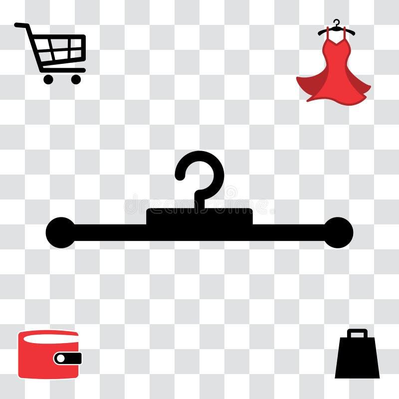 Schwarze Kleiderbügel-Ikone stock abbildung