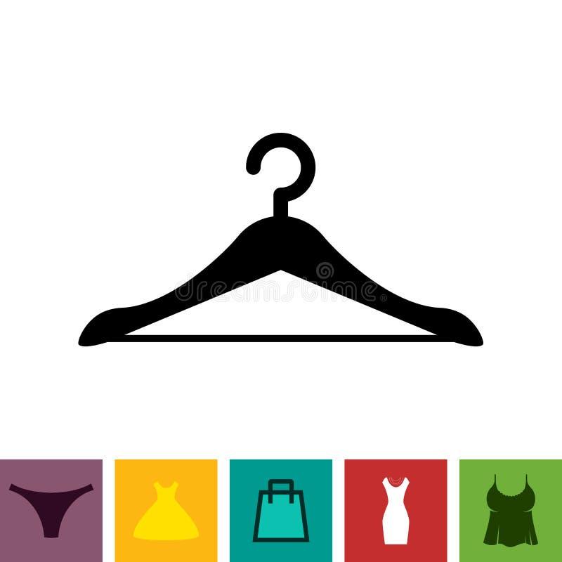 Schwarze Kleiderbügel-Ikone auf weißem Hintergrund lizenzfreie abbildung