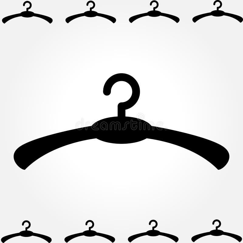 Schwarze Kleiderbügel-Ikone auf weißem Hintergrund stock abbildung