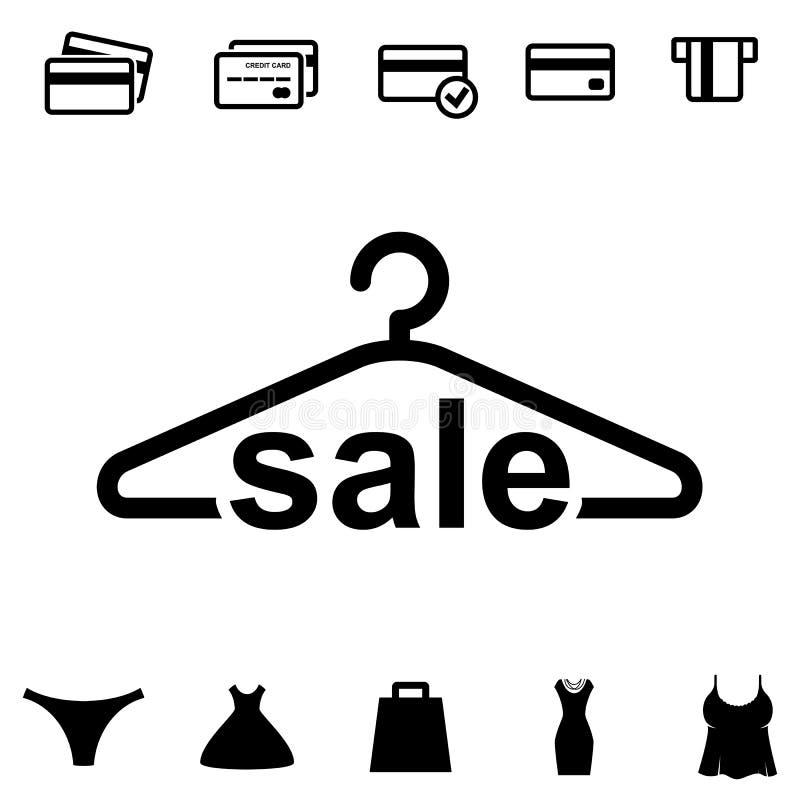 Schwarze Kleiderbügel-Ikone auf weißem Hintergrund vektor abbildung