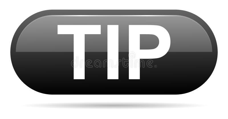 Schwarze Knopfhilfe des Tipps und Vorschlagskonzept stock abbildung
