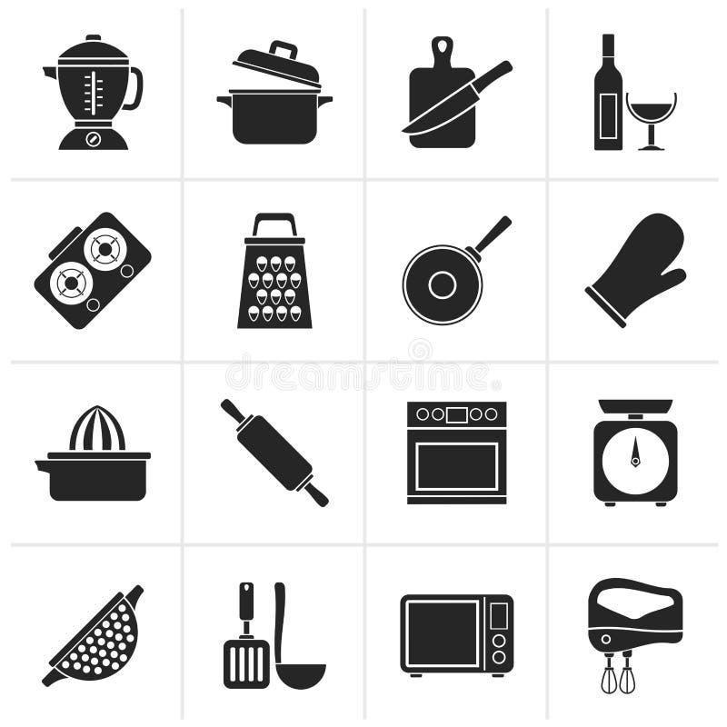 Schwarze kochende Werkzeugikonen lizenzfreie abbildung