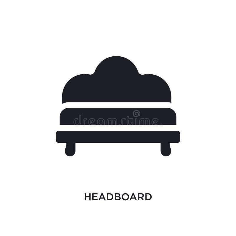 schwarze Kopfende lokalisierte Vektorikone einfache Elementillustration von den Möbel- und Haushaltskonzeptvektorikonen headboard lizenzfreie abbildung