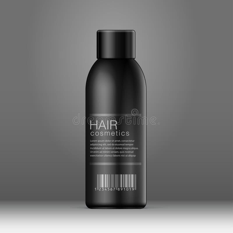 Schwarze Kosmetikflaschendose, desodorierendes Mittel stock abbildung