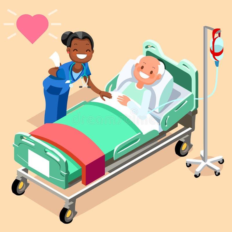 Schwarze Krankenschwester oder Hausarzt am männlichen geduldigen Bett vektor abbildung