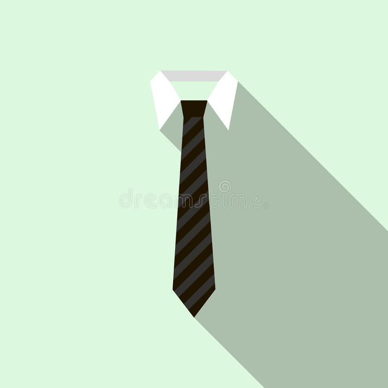 Schwarze Krawatte auf einer Hemdkragenikone, flache Art vektor abbildung