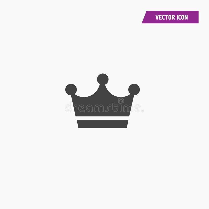 Schwarze Krone Ikone in der modischen flachen Art vektor abbildung