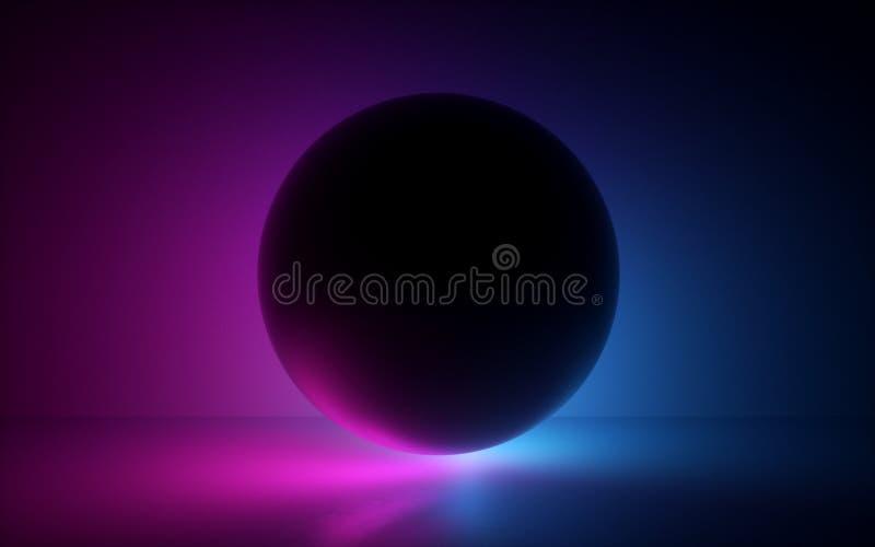 schwarze Kugel 3d im Neonlicht, abstrakter Hintergrund, leerer Bereich, Kugelmodell, Laser-Show, geheime Energie, abstrakter Hint lizenzfreie abbildung
