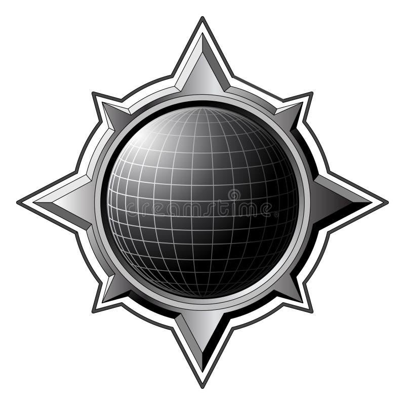 Schwarze Kugel innerhalb des Stahlkompassses lizenzfreie abbildung