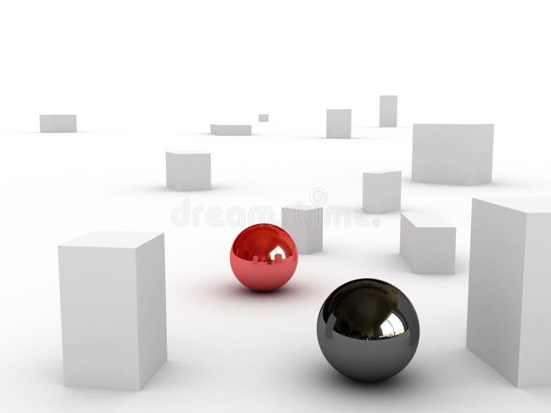 Schwarze Kugel und rote Kugel lizenzfreie abbildung