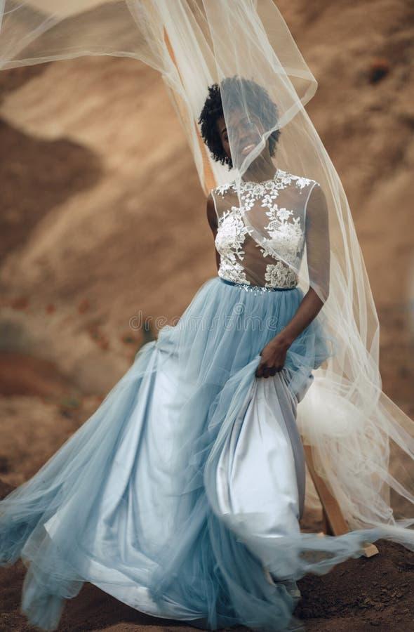 Schwarze lächelnde Braut steht auf Hintergrund der schönen Landschaft stockfoto