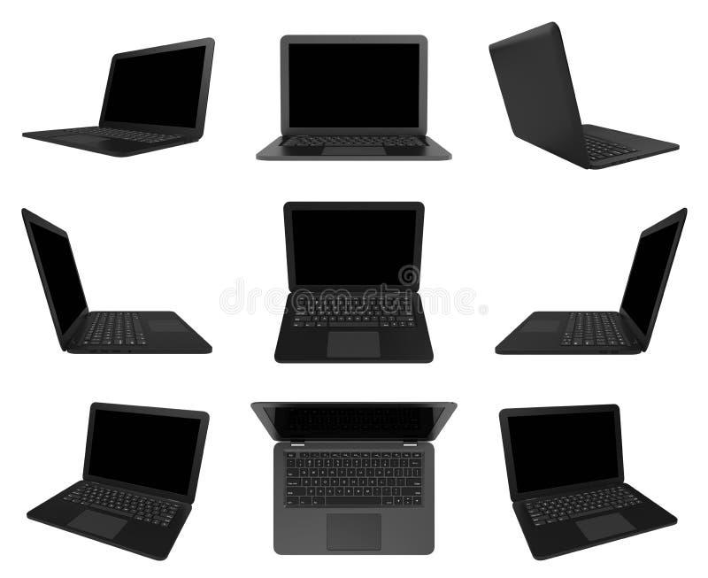 Schwarze Laptop-Computer auf weißer, mehrfacher Ansicht-Reihe vektor abbildung