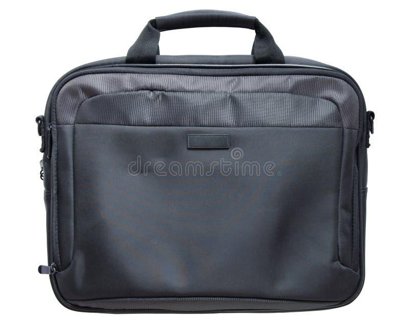 Schwarze Laptoptasche lokalisiert auf weißem Hintergrund lizenzfreie stockbilder