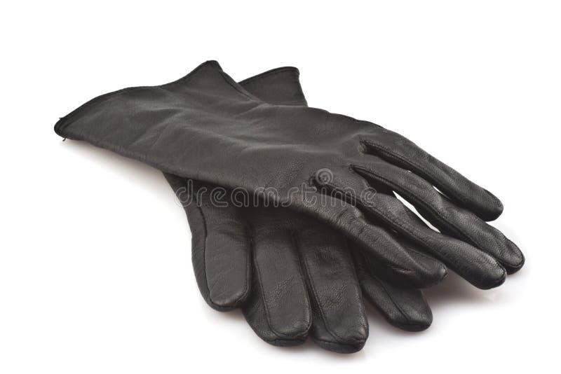 Schwarze lederne Handschuhe stockfoto