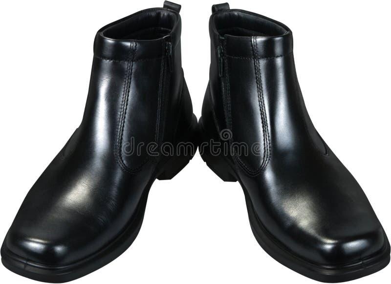 Schwarze lederne männliche Schuhe, lokalisiert auf Weiß lizenzfreie stockfotografie