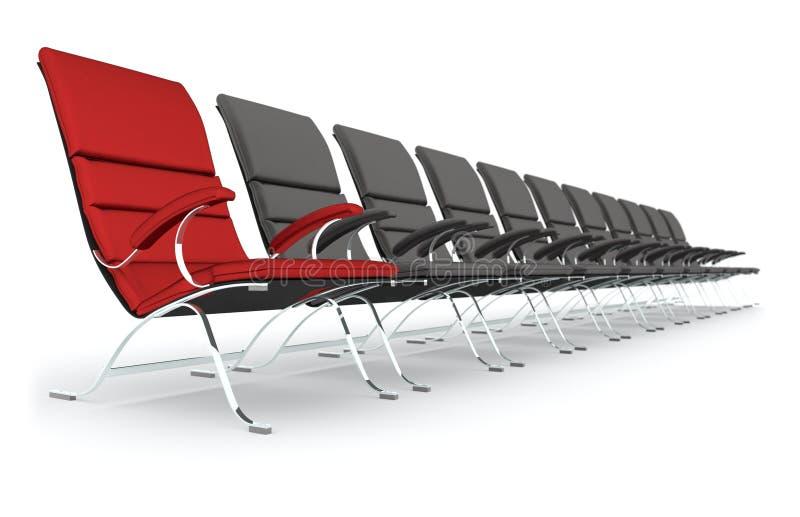 Schwarze lederne Stühle mit der roten Stuhlführung lizenzfreie abbildung