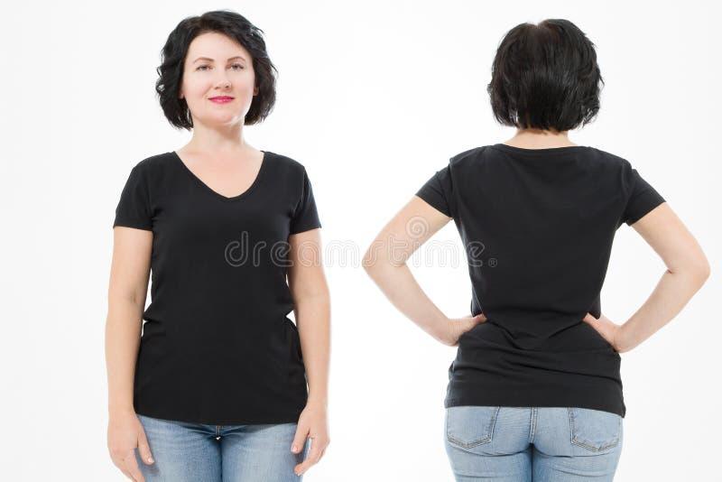Schwarze leere T-Shirt der Frauen, vordere und hintere hintere Ansicht lokalisiert auf weißem Hintergrund Schablonenhemd, Kopienr lizenzfreie stockfotos