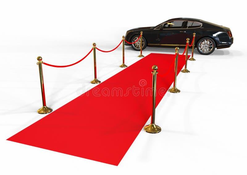 Schwarze Limousinenankunft und roter Teppich vektor abbildung