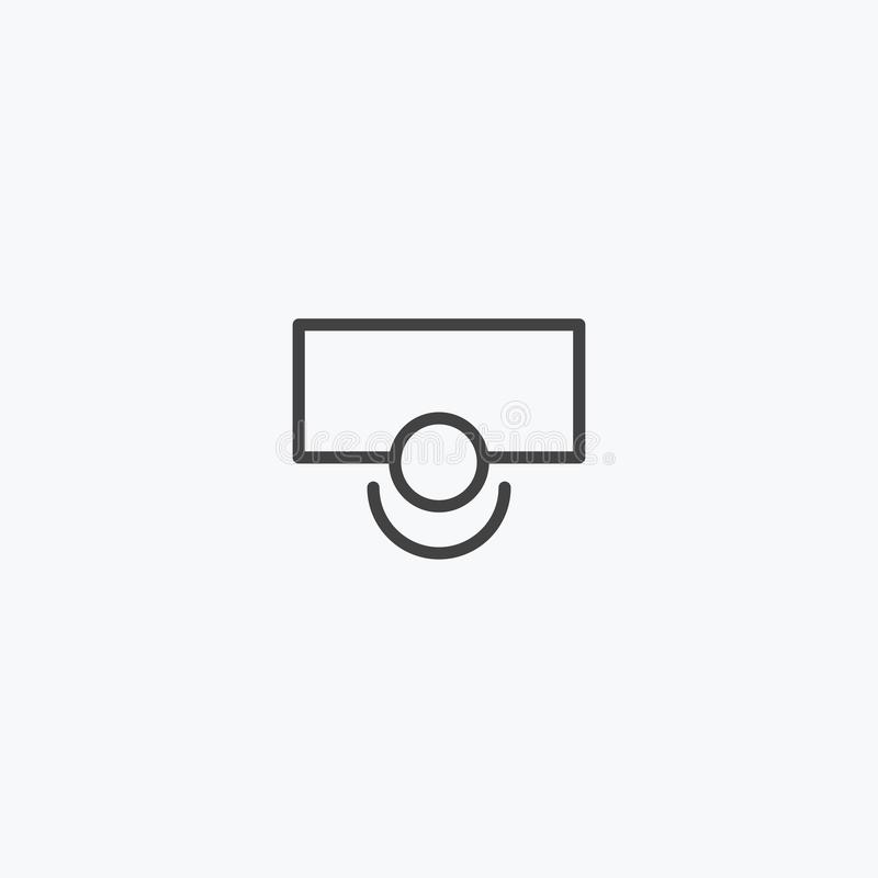 Schwarze Linie Fußball, Basketballfeld-Ikonenvektor lizenzfreie stockfotografie