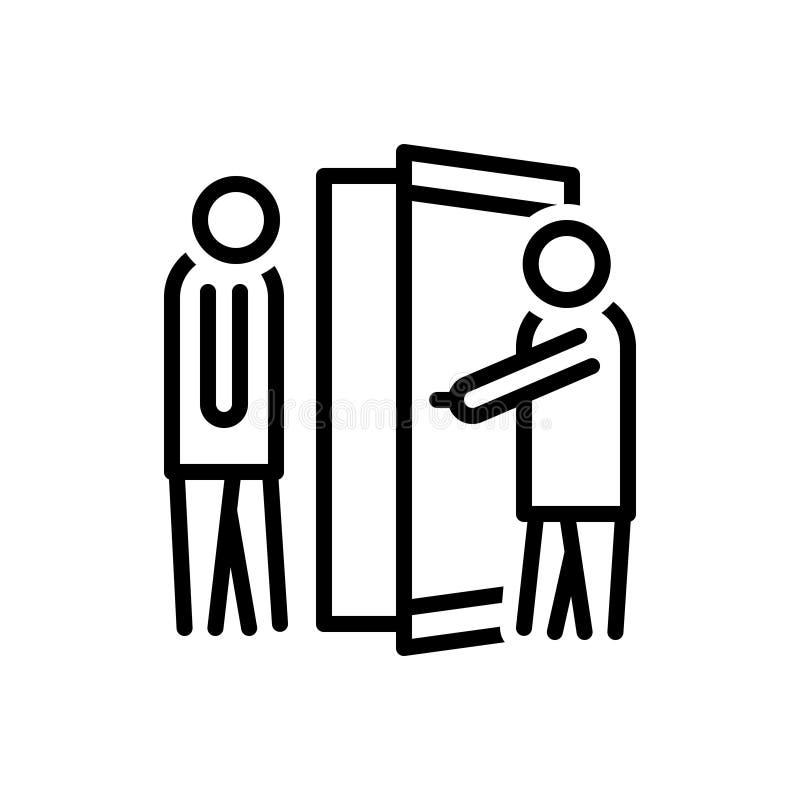 Schwarze Linie Icon für Manner, Begrüßung und offene Tür vektor abbildung