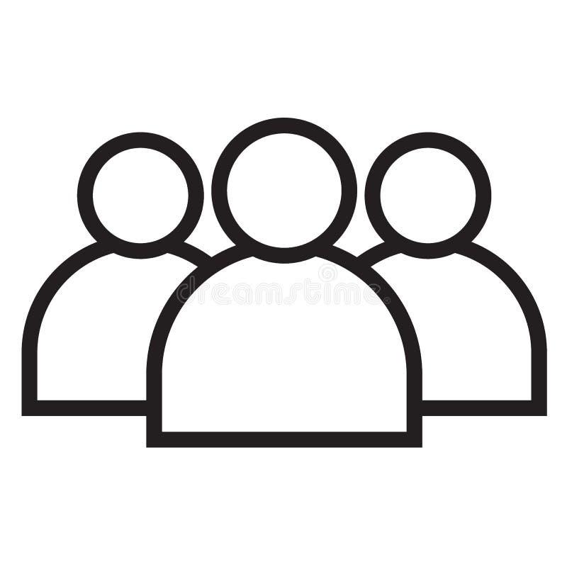 Schwarze Linie Ikone der Teammitglieder vektor abbildung