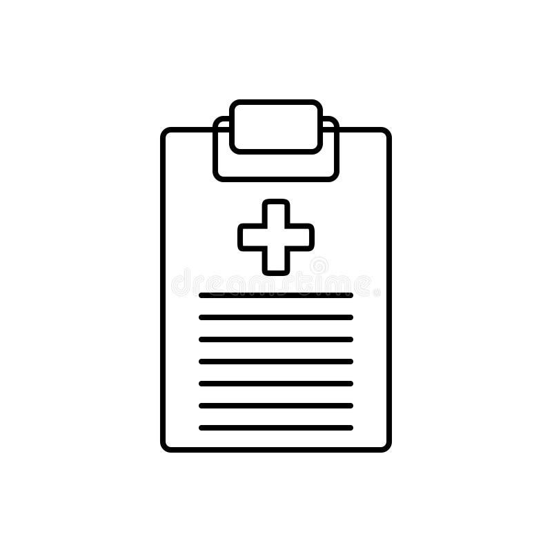Schwarze Linie Ikone für ärztlichen Attest, Notizblock und Klemmbrett stock abbildung