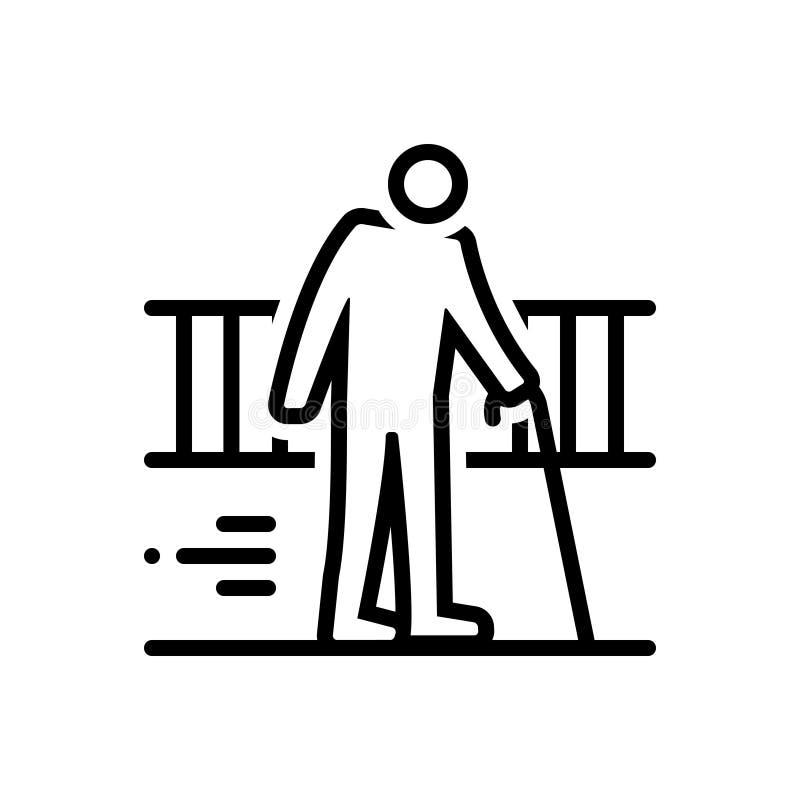 Schwarze Linie Ikone für Ageism, gealtert und alt lizenzfreie abbildung