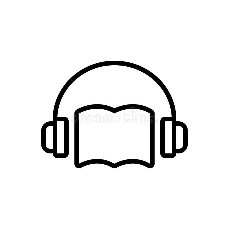 Schwarze Linie Ikone für Audiobuch, Audio und Buch vektor abbildung
