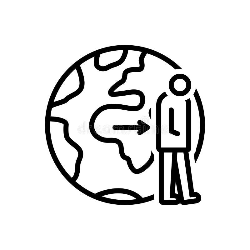 Schwarze Linie Ikone für Aufgeben, Ablehnung und Opfer lizenzfreie abbildung