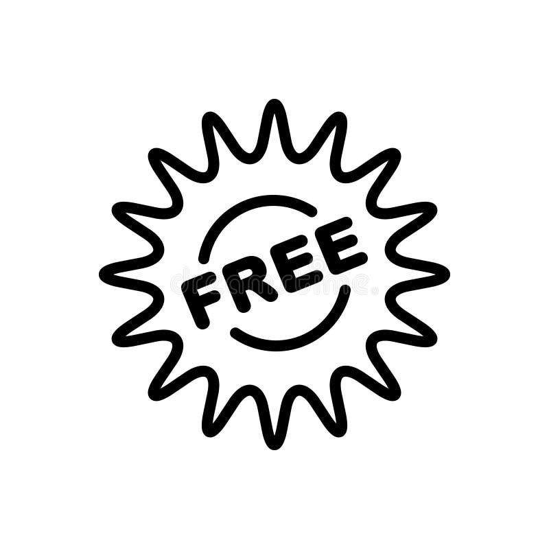 Schwarze Linie Ikone für Aufkleber, freies und Umbau lizenzfreie abbildung