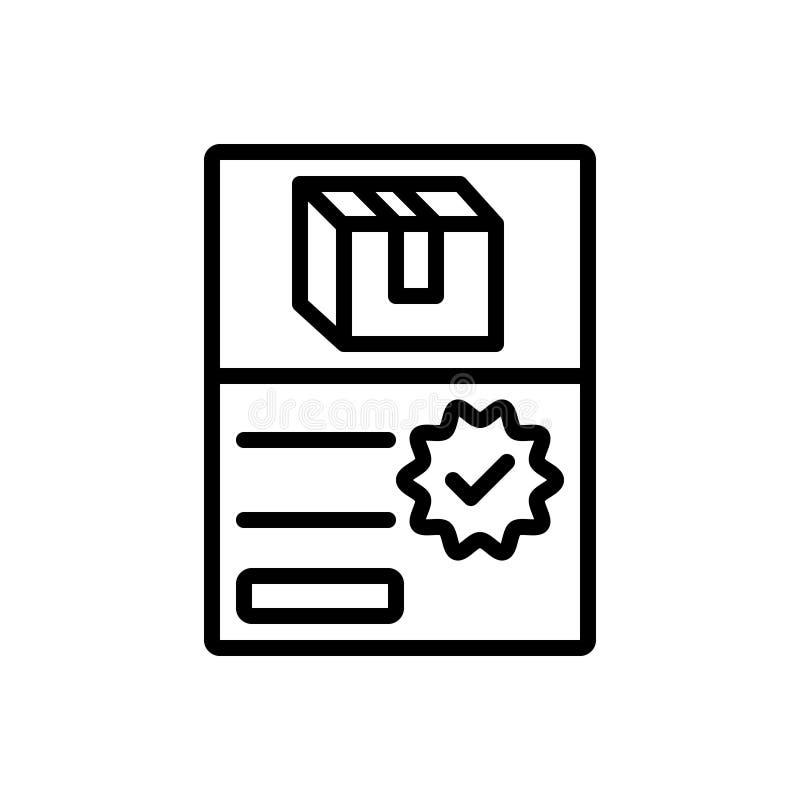 Schwarze Linie Ikone für Auftrag, Paket und Paket stock abbildung