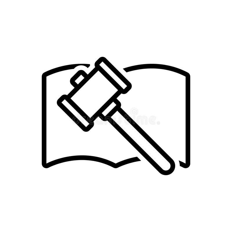 Schwarze Linie Ikone für Auktion, Berechtigung und Richter vektor abbildung
