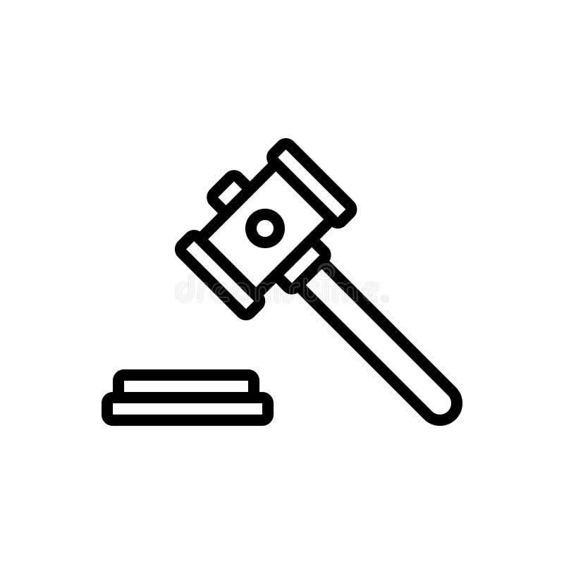 Schwarze Linie Ikone für Auktion, Berechtigung und Richter lizenzfreie abbildung